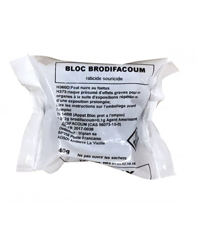 BLOC RODENTICIDE BRODIF 40G SFILM+SACHETS G.P.